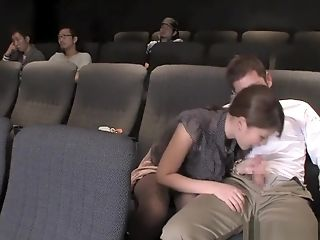 Sweet Japanese Femmes Deep-throating Schlong At The Movies