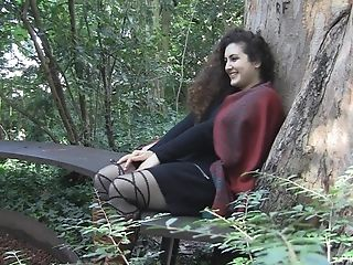 Outdoor Solo Clothed Getting Off Session With Curly Haired Lili