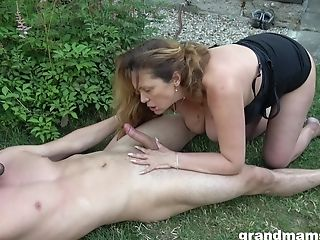 Matures Lady And Her Horny Friend Adore Hard Fuckfest And Slurping Outside
