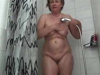 German Grandmother Frida Likes The Bathroom Head