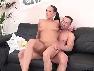 Mea Melone Spreads Her Gams On The Couch For A Big Hard Dick