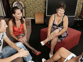 Three Matures Beotches Share One Hard Prick