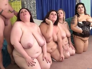 Four Bbws Get Muff Hammered By Big Dick