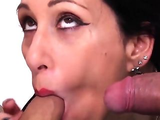 Brown-haired Mom Bi-atch Sucking Two Youthfull Schlongs