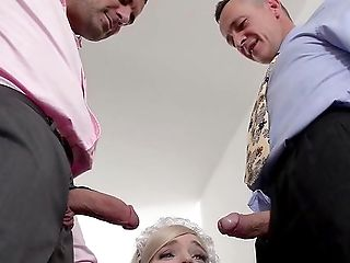 The Blonde Maid Offers Crazy Sensations To These Folks