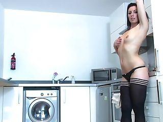 Beautiful Cougar Bombshell Roxanne Cox Masturbates In The Kitchen