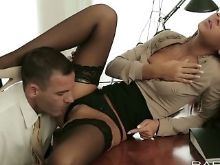 Fantastic Brown-haired Cutie Gets Her Cunt Eaten By Rapacious Chief Over At His Office