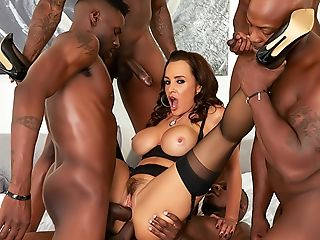 Lisa Ann's Interracial Double Penetration Big Black Cock Gang-bang